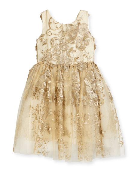 Zoe Goldie Textured Tell Party Dress, Size 2-6X
