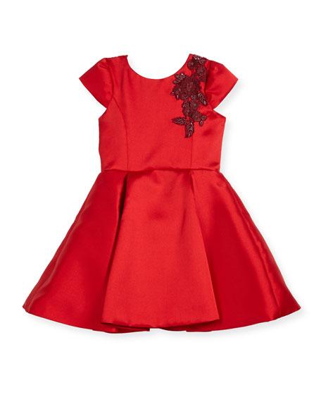 Zoe Deep-Pleat Swing Dress w/ Floral Embroidery Shoulder,