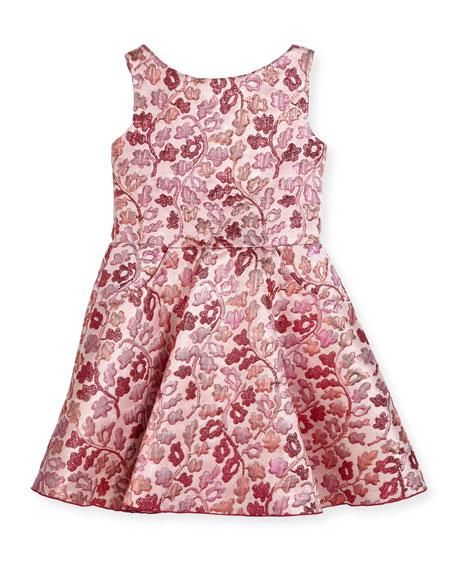 Zoe Berry Blossom Metallic Brocade Swing Dress, Size