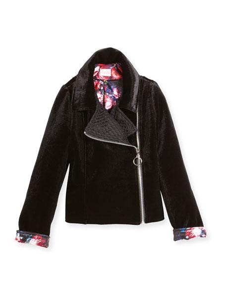Harley Velvet Biker Jacket w/ Floral Lining, Size 7-16