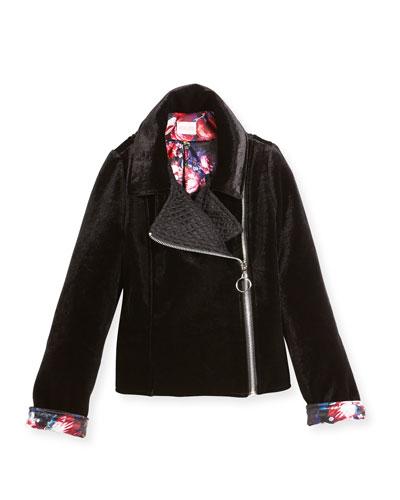 Harley Velvet Biker Jacket w/ Floral Lining, Size 4-6X