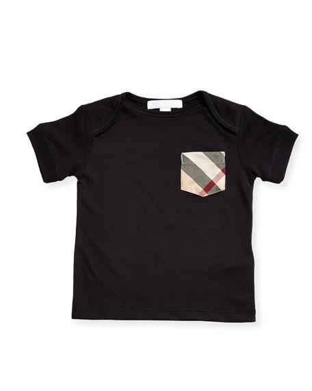 Burberry Callum Short-Sleeve Jersey Tee, Black, Size 6M-3Y