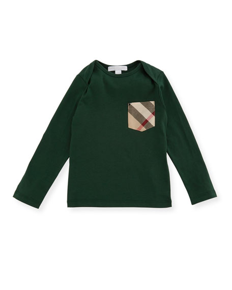 Burberry Callum Long-Sleeve Jersey Tee, Green, Size 6M-3Y