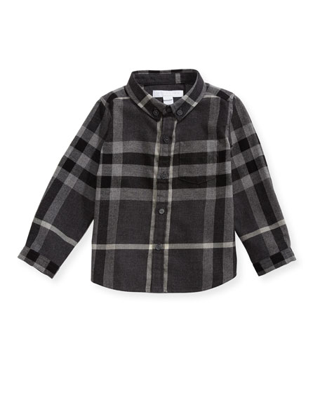 Fred Mini Long-Sleeve Check Shirt, Gray, Size 6M-3Y
