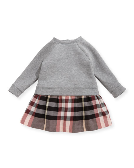 Burberry Francine Sweatshirt Check Dress, Size 6M-3Y