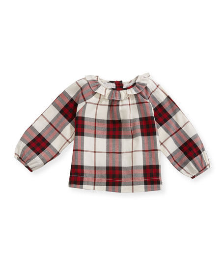 Burberry Karla Ruffle-Collar Check Blouse, Red, Size 6M-3Y