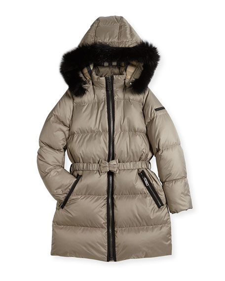 Burberry Consillia Hooded Fur-Trim Puffer Jacket, Brown, Size