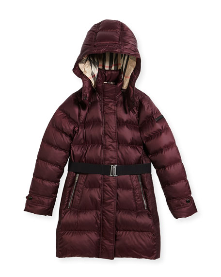 Burberry Dalesford Quilted Puffer Jacket, Plum, Size 4-14