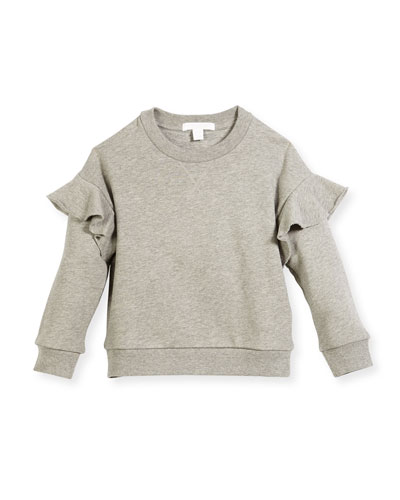 Mini Neiman Ruffle Sweatshirt, Size 4-14