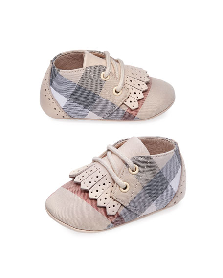Boys' Tom Check Shoes w/ Perforated Leather Trim, Infant