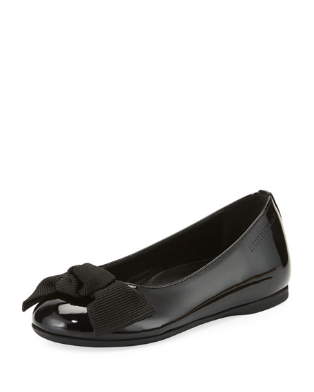 Burberry Trixie Patent Leather Ballet Flat, Black, Toddler/Youth
