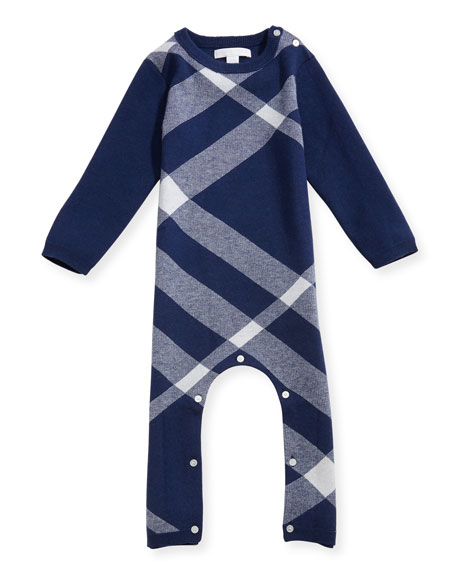 Burberry Ashley Mega Check Cashmere-Cotton Coverall, Blue, Size