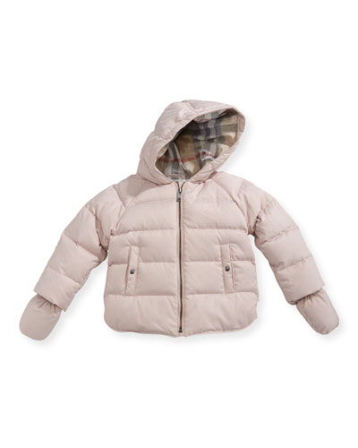 Rilla Hooded Raglan Puffer Jacket, Pink, Size 6M-3Y