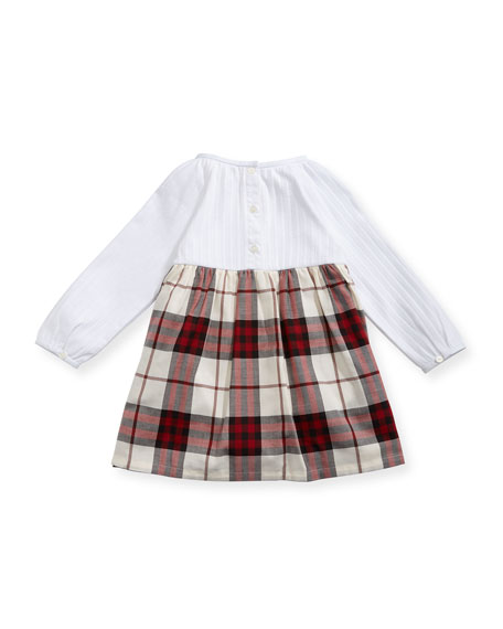 Jaine Knit & Check Cotton Dress, Red, Size 3-24 Months
