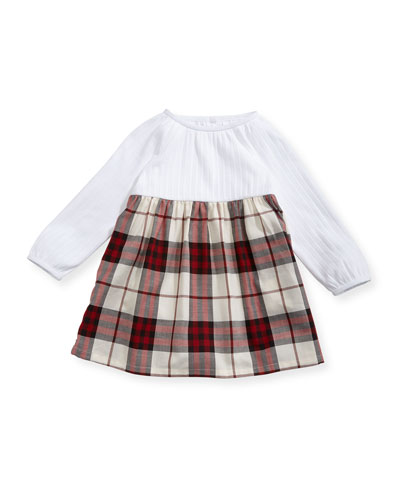 Jaine Knit & Check Cotton Dress, Red, Size 3-24 Months