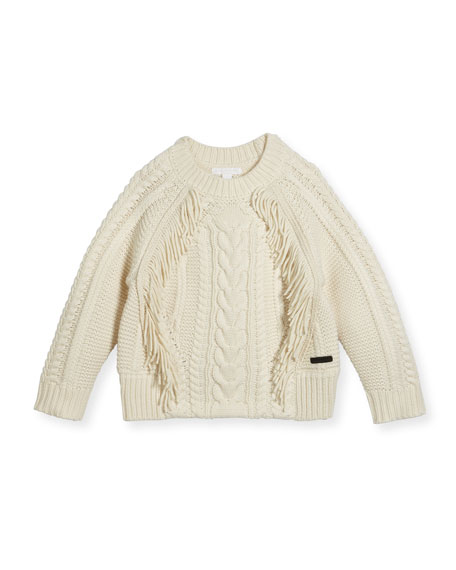 Burberry Natasia Cable-Knit Fringe Sweater, Size 4-14