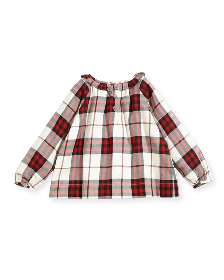 Karly Ruffle Collar Check Blouse, Size 4-14