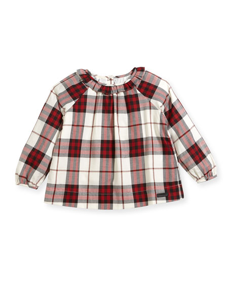 Burberry Karly Ruffle Collar Check Blouse, Size 4-14