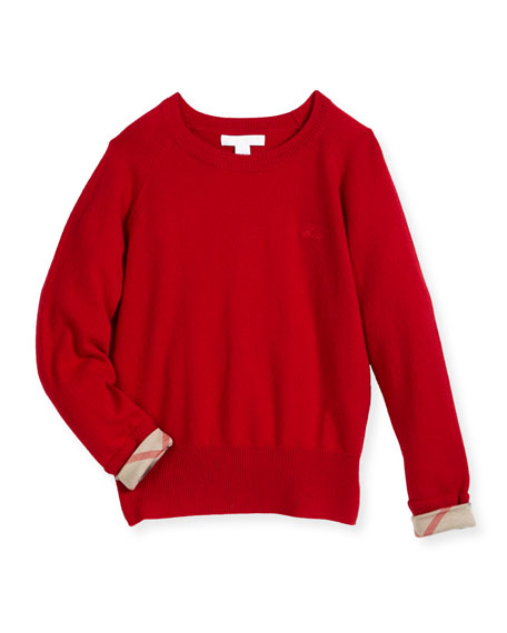 Burberry Georgey Cashmere Check-Cuff Pullover Sweater, Red, Size