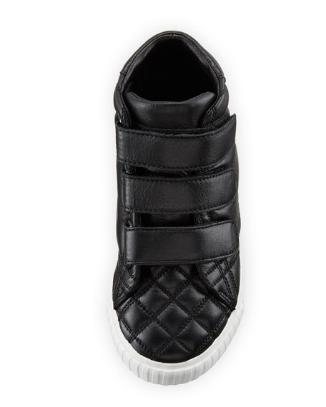 Calf Leather Quilted Boot, Black, Toddler Sizes 7-10