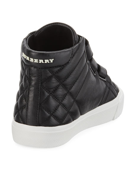 Calf Leather Quilted Boot, Black, Toddler/Youth