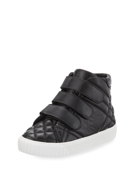 Burberry Calf Leather Quilted Boot, Black, Toddler Sizes