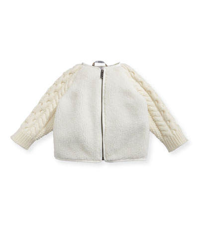 Tayla Zip-Front Faux-Shearling Jacket, Size 3-24 Months