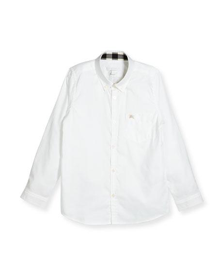 Fred Mini Long-Sleeve Shirt, White, Size 4-14
