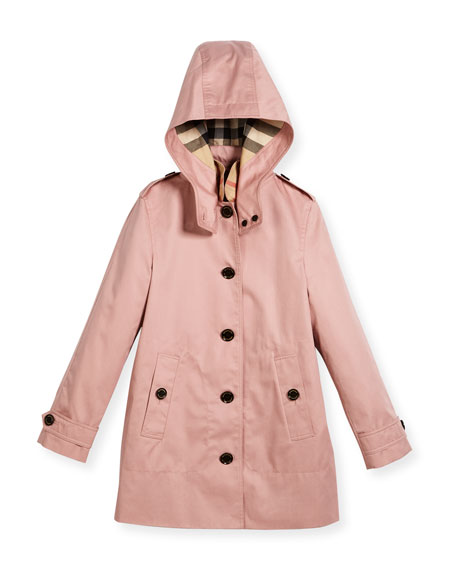 Burberry Geri Hooded Trenchcoat, Pink, Size 4-14