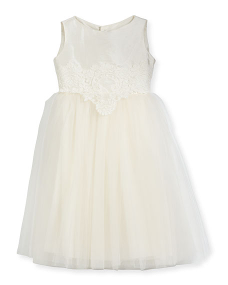 Enchanting Lace-Trim Silk & Tulle Dress, Size 4-6
