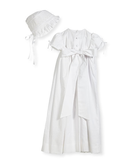 Pearls Smock Embroidered Cotton Christening Gown w/ Bonnet, White, Size 6-12 Months