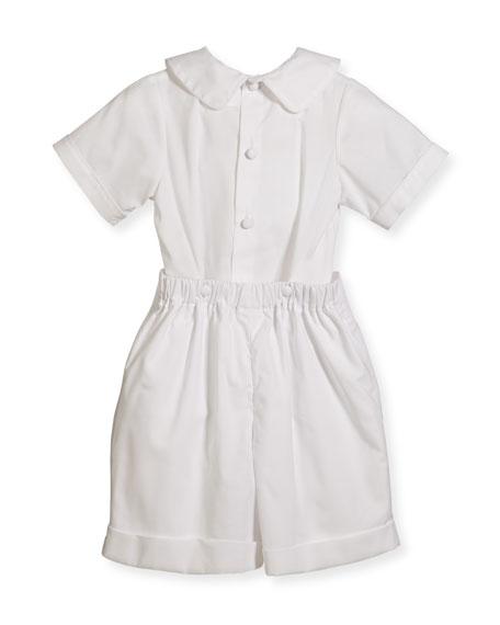Boys' Sebastian Two-Piece Cotton Ring Bearer Set, White, Size 2-4