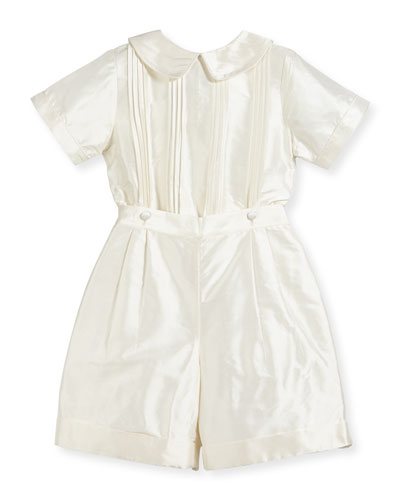 Boys' Sebastian Two-Piece Silk Ring Bearer Set, Ivory, Size 2-4