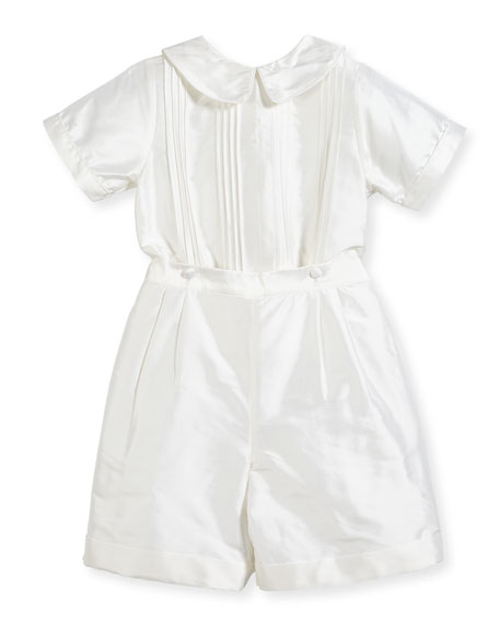 Boys' Sebastian Two-Piece Silk Ring Bearer Set, White, Size 2-4