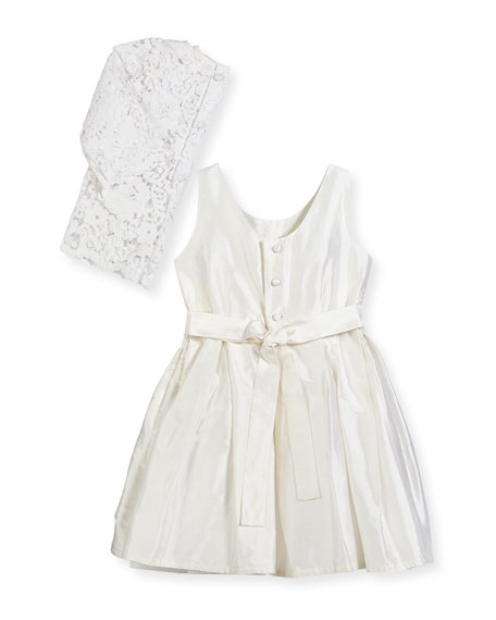 Fable Silk Dress w/ Lace Overlay Top, Size 4-6