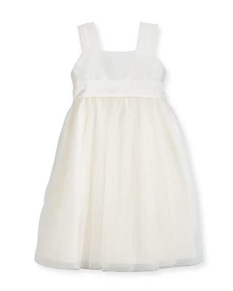 Isabel Garreton Venice Pleated Straps V-Back Dress, Ivory,