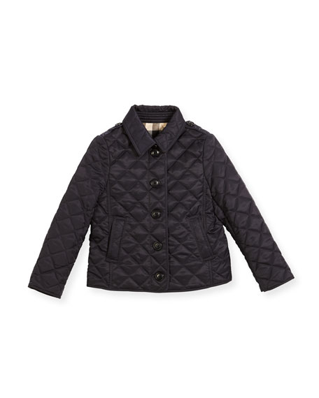 Burberry Ashurst Quilted Button-Front Jacket, Navy, Size 4-14