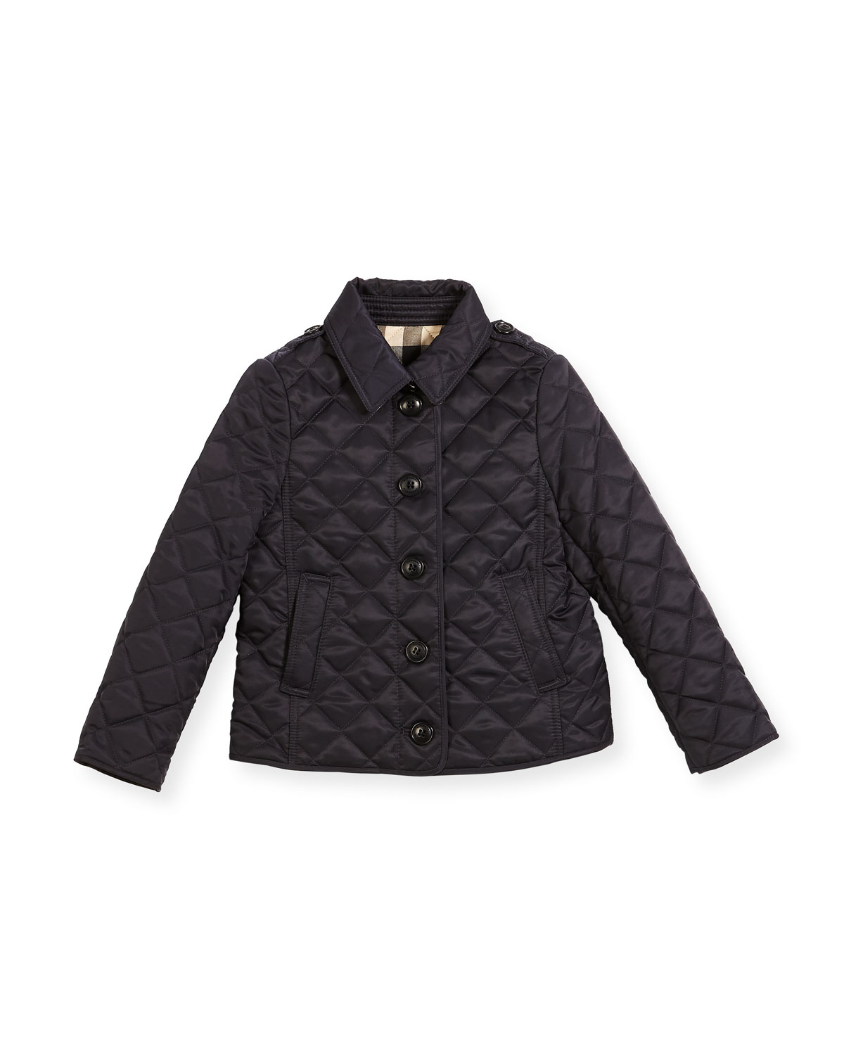 Burberry Ashurst Quilted Button Front Jacket Navy Size 4
