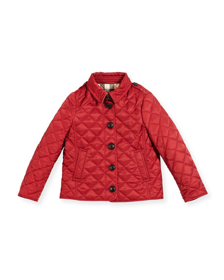 Burberry Ashurst Quilted Button-Front Jacket, Red, Size 4-14