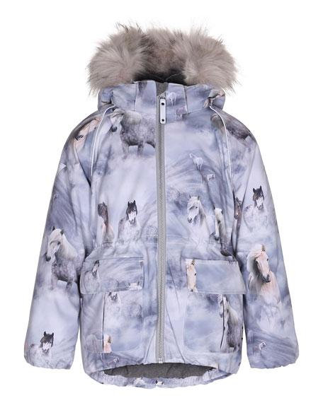 Molo Cathy Horse Jacket w/ Faux-Fur Trim, Size