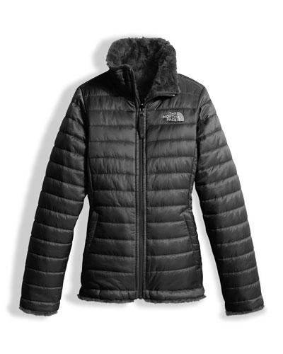 Girls' Reversible Mossbud Swirl Jacket, Black, Size XXS-XL