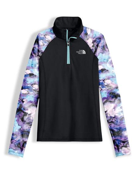 Two-Tone Stretch Pulse Half-Zip Pullover, Black, Size XXS-XL
