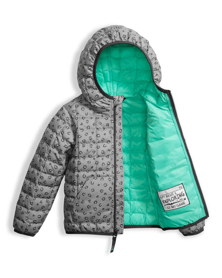 Leopard-Print ThermoBall Hooded Jacket, Gray, Size 2-4T