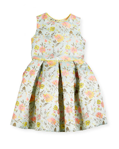 Jacquard Peony Party Dress, Size 2-14