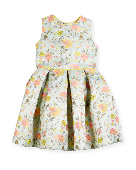 Oscar de la Renta Jacquard Peony Party Dress,