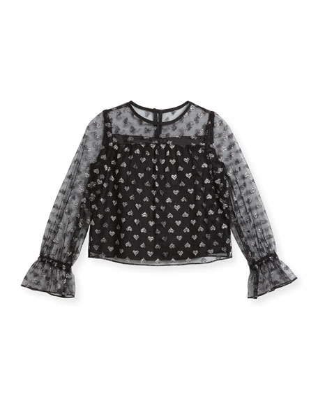 Milly Minis Leila Metallic Hearts Tulle Blouse, Size