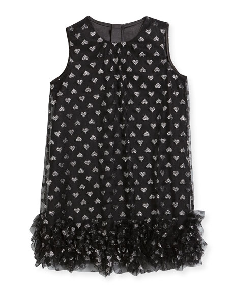 Tessa Embroidered Hearts Tulle Ruffle Trapeze Dress, Size 8-16