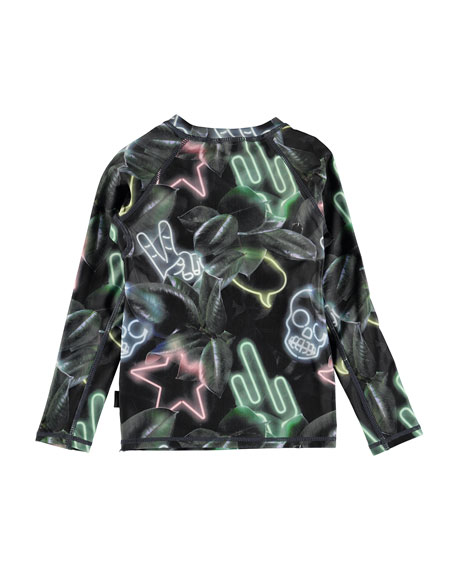 Neptune Neon-Sign Print Long-Sleeve Rash Guard, Size 2T-12