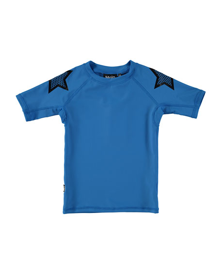 Molo Neptune Short-Sleeve Stars Rash Guard, Size 2T-10