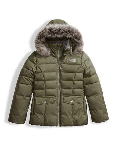 Gotham 2.0 Down Hooded Jacket w/ Faux-Fur Trim, Green, Size XXS-XL